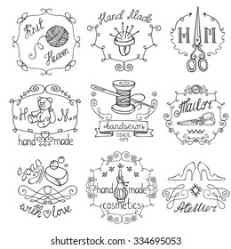 Handmade logo.Hand made needlework doodle logo,badges..Sewing,knitting.Icons set.Black hand drawing sketch.Vintage logotypes,labels.Vector hand made supplies,knitting equipment.Design template.