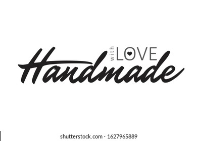 Handmade with Love handwritten inscription decorated with hearts. Hand drawn lettering quote. Phrase handmade calligraphy. Your card, banner, poster design concept. Vector illustration.