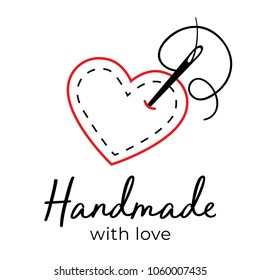 Handmade with love logo vintage vector. Needle going through fabric heart. Stitching, sewing, tailoring, hobby logo.
