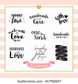 Handmade with Love Typography Stamp Vector Design