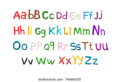 Handmade Modeling Clay alphabet isolated on white background. English colorful letters. Vector illustration.