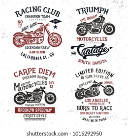 Handmade Motorcycle typography badges collection. T shirt graphics for print and other user. Vector