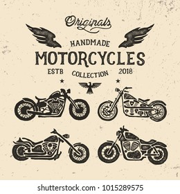 Handmade Motorcycles Collection. Vector
