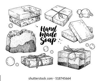 Handmade natural soap set. Vector hand drawn illustration of organic cosmetic with lettering and bubbles. Great for label, logo, banner, packaging, spa and body care promote