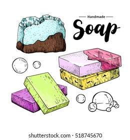 Handmade natural soap set. Vector hand drawn colorful illustration of organic cosmetic with lettering and bubbles. Great for label, logo, banner, packaging, spa and body care promote