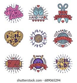 Handmade needlework craft badges sewing fashion tailoring tailor handicraft elements vector illustration.