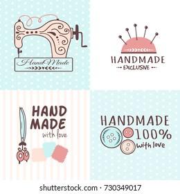 Handmade needlework craft badges sewing banners fashion tailoring tailor handicraft elements vector illustration.