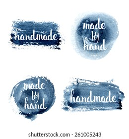 Handmade. Original custom hand lettering. Handmade calligraphy, vector. Illustration for logo, brochure and other printing projects.