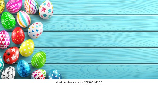 Handmade painted easter eggs on wood background.Colorful easter eggs decoration on wood table top view with copy spac.Easter eggs with different texture.Vector illustration EPS10