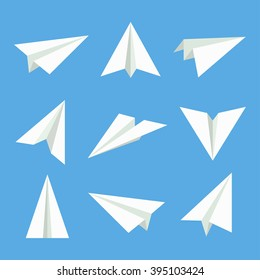 Handmade paper plane vector set  in flat style  isolated from background. Origami plane collection.