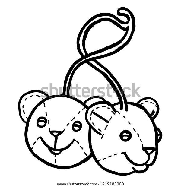 Handmade Pen Drawing Two Stuffed Animal Stock Vector ...