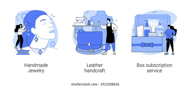 Handmade products and shopping service abstract concept vector illustration set. Handmade Jewelry, leather handcraft, box subscription service, artisan goods, custom order delivery abstract metaphor.