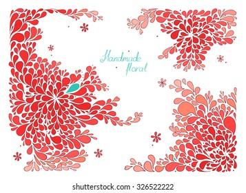 Handmade rectangular floral red vector illustration.