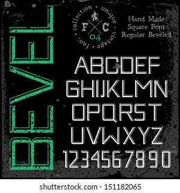Handmade retro font. 3d beveled type. Grunge textures placed in separate layers. Vector illustration.