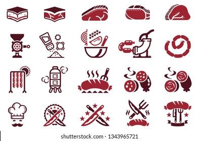 Handmade Sausage manufacturing icon.