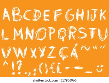 Handmade Scratch Vector Alphabet. Includes accents and punctuation.