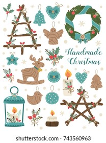 Handmade set. Candlesticks, blue christmas decorations, christmas tree, toys, jingle. Handcrafts, rustic design elements.