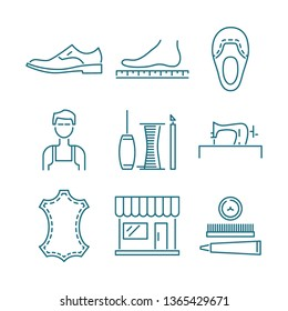 Handmade shoes vector line icons. Set of 9 illustrations for shoe bespoke business