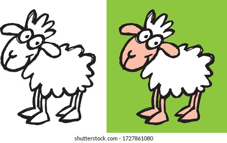 Handmade sketch of a nice little sheep on a white background and on a green background. The illustration is vectorized.