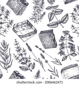 Hand-made soap ingredients seamless pattern. Hand-sketched aromatic and medicinal herbs background. Perfect for cosmetics, perfumery, soap, candle making, label, packaging. Soap making  backdrop.