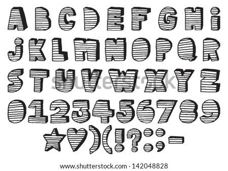 Handmade Stripes 3D letters Font