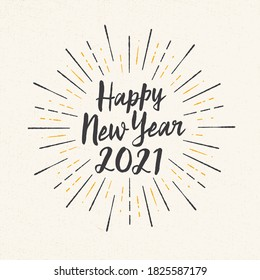 Handmade style greeting card - Happy New Year 2021 - Vector EPS10. For your print and web messages : greeting cards, banners, t-shirts.