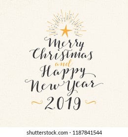 Handmade style greeting card - Merry Christmas and Happy New Year 2019 - Vector EPS10. For your print and web messages : greeting cards, banners, t-shirts.