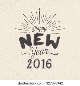 Handmade style greetings card - Happy New Year 2016 - Vector EPS10.