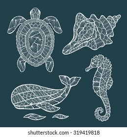 Handmade stylized set of zentangle turtle, whale, sea horse, shell. Sea collection for your design.