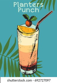 Handmade summer tropical cocktail of palm leaf background.Planters punch