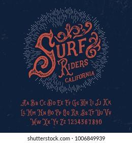 Handmade Surf font. Vector