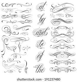 Handmade tattoo lettering and decorative elements