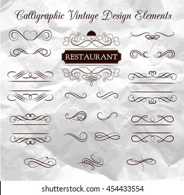 Handmade tattoo lettering and decorative elements. Vector illustration. Ornate frames and scroll elements.