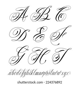 Handmade vector calligraphy tattoo alphabet