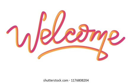 Handmade vector lettering: Welcome, Lettering logo: Welcome, Hand sketched card ,Hand drawn Welcome lettering sign. Motivation Banner, postcard, poster, stickers, tag. Welcome Vector illustration