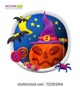 Handmade vector Plasticine round greeting card for Halloween. Vector illustration of moon, bat, pumpkin, spider, candy, hat and lollipop isolated on white background