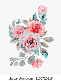handmade watercolor bouquet of flowers - rose, chamomile and poppy vector illustration isolated on ligth grey background