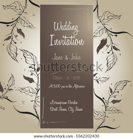 Handmade Wedding Invitation Card Template Design Stock Vector
