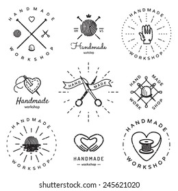 Handmade workshop logo vintage vector set. Hipster and retro style. Perfect for your business design.