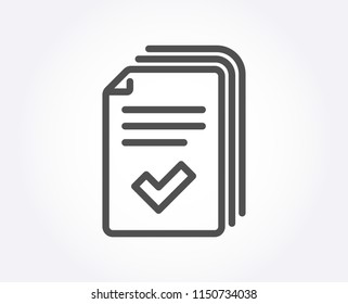 Handout line icon. Documents example sign. Quality design element. Classic style. Editable stroke. Vector