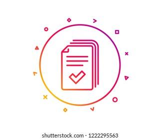 Handout line icon. Documents example sign. Gradient pattern line button. Handout icon design. Geometric shapes. Vector