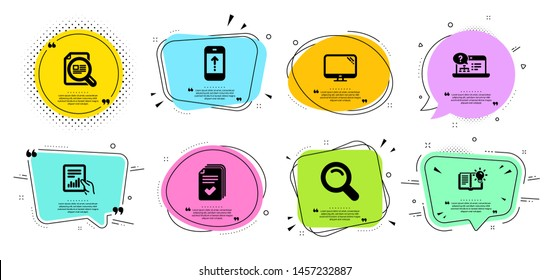Handout, Product knowledge and Document line icons set. Chat bubbles with quotes. Check article, Swipe up and Search signs. Computer, Online help symbols. Documents example, Education process. Vector