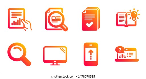 Handout, Product knowledge and Document line icons set. Check article, Swipe up and Search signs. Computer, Online help symbols. Documents example, Education process. Science set. Vector