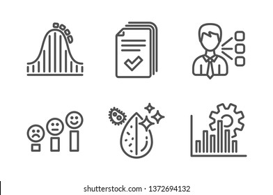 Handout, Roller coaster and Customer satisfaction icons simple set. Third party, Dirty water and Seo graph signs. Documents example, Attraction park. Technology set. Line handout icon. Editable stroke