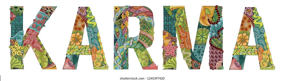 Hand-painted art design. Illustration word KARMA painted in warm colors for T - shirt design, tattoo and other decorations