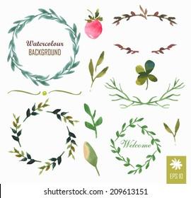 Hand-painted watercolor design elements. Floral motifs. Watercolor vintage floral trendy set of wreaths and laurels. Frame set.