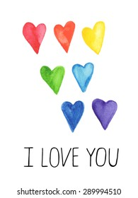 Hand-painted watercolor hearts. Cute colorful heart shaped graphic design elements for your's design. Isolated on white. Vector illustration.