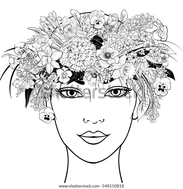 hand-painted wreath on the head girl of spring primroses: anemones, freesias, lilacs, snowdrops, pansies, daffodils.Vector.Book coloring