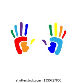 Handprint background concept. Human hand print illustration.Seamless background made from color handprints.