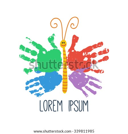 Handprint Butterfly Smiling Colorful Kids Palm Stock Vector Royalty